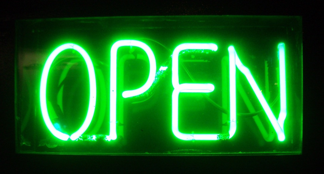 Green Neon 'open' sign