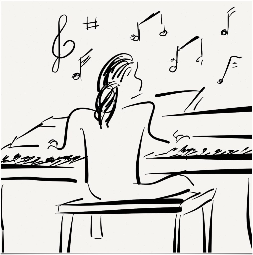 Sketch of piano player