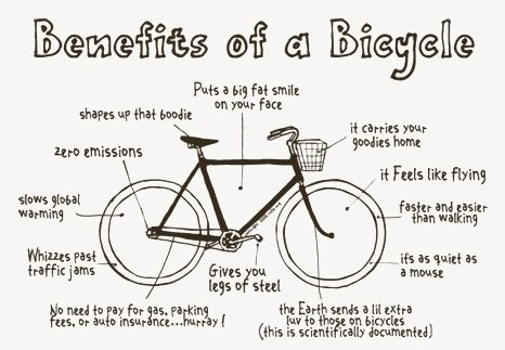 Cartoon describing the benefits of rising a bicycle. Including, it feels like flying!
