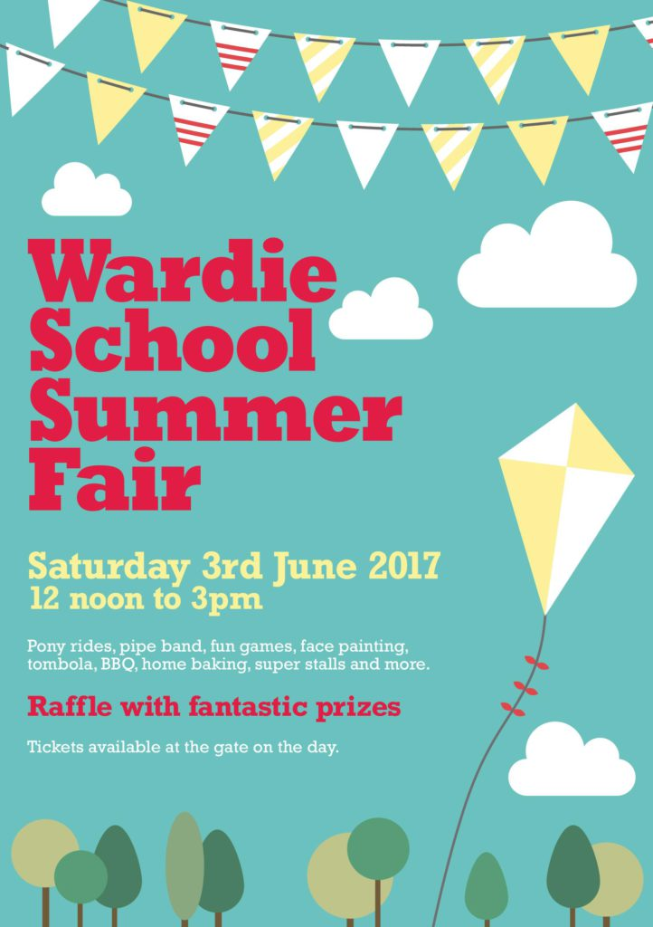 Wardie Summer Fair poster - kite fling in a blue sky
