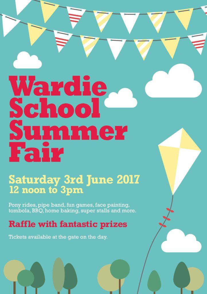 Wardie Summer Fair poster - kite fling in a blue sky