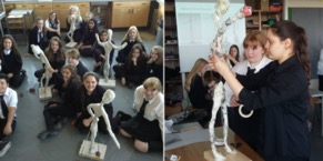 Two photos of students at work in the class building sculptures