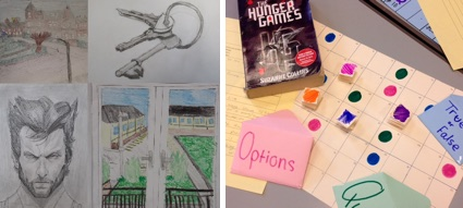 Students art work and a game based on The Hunger Games