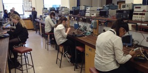 Students working in a science laboratory