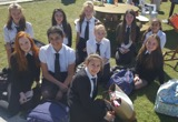 Students eating lunch in the park