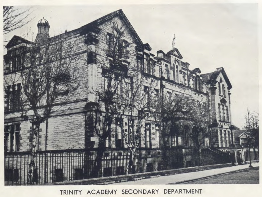 An old black and white photograph of Trinity Academy without any later additions