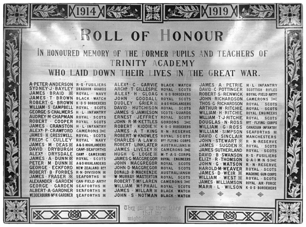 Trinity Academy WW1 Roll of Honour