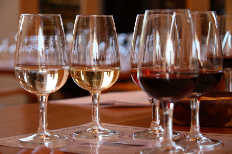 Selection of red and white wines in glasses