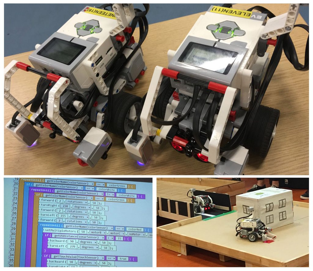 Photos from an Inspire event showing Lego mindstorms and code
