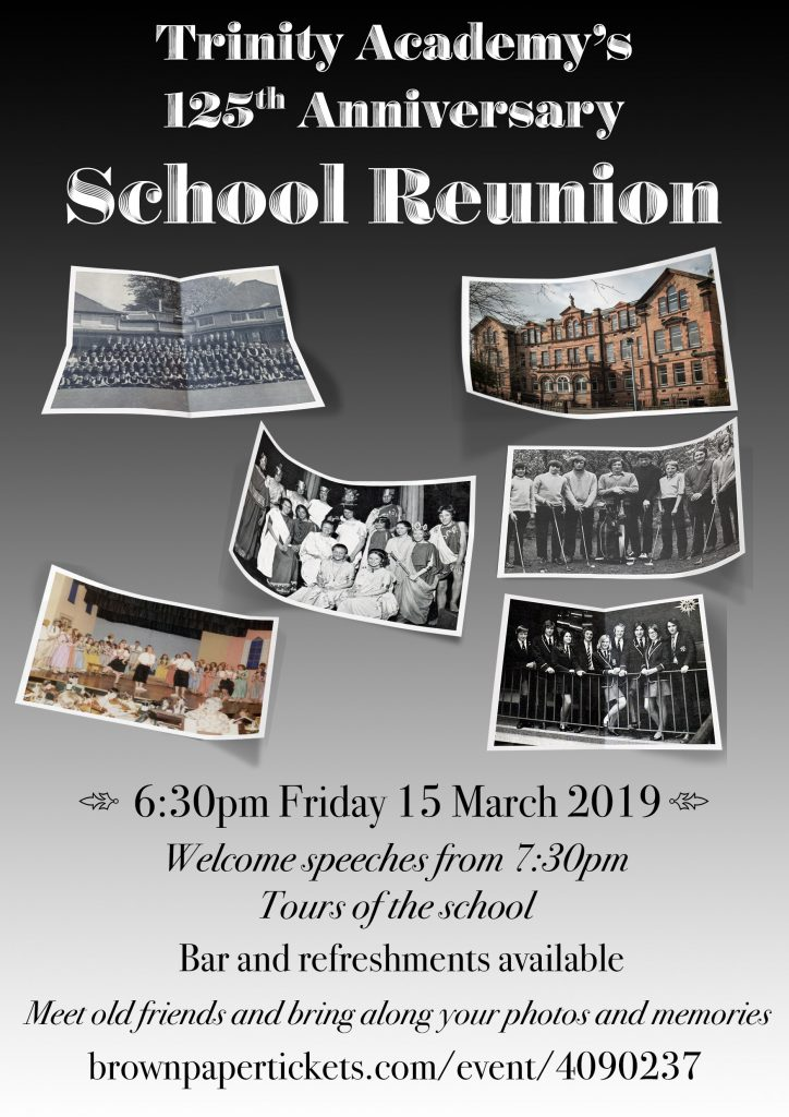Poster for the reunion showing old photos f former pupils.