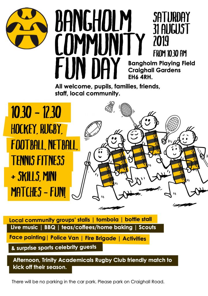 Poster showing players running with hockey sticks, rackets and rugby ball. Start time 10:30am.